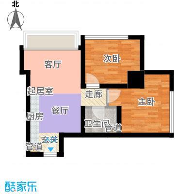 荣京丽都A座C户型二室二厅一卫户型