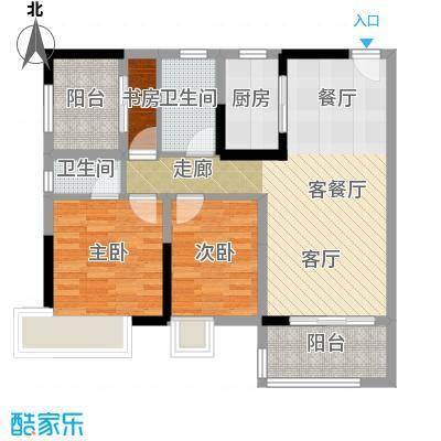 保利中央公馆91.00㎡10栋1/2梯04单元户型3室1厅2卫1厨