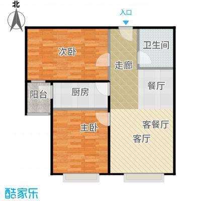 润泽公馆88.00㎡B-1户型2室1厅1卫1厨