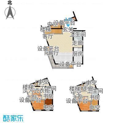 万科金阳国际公寓63.00㎡C户型跃层户型