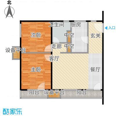万科金阳国际公寓90.00㎡H户型二室二厅一卫户型