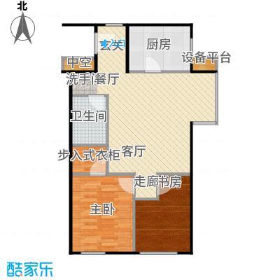万科金阳国际公寓88.00㎡G户型二室二厅一卫户型