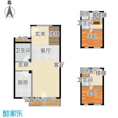 万科金阳国际公寓57.00㎡B户型跃层户型