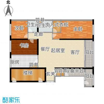 US联邦公寓199.81㎡g户型3室2厅2卫户型