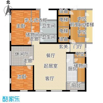 US联邦公寓226.35㎡B户型3室2厅2卫户型