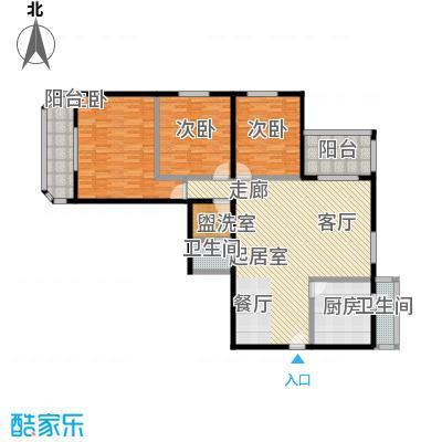 双花园小区142.00㎡三室二厅一卫户型
