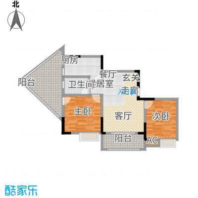 1+8时代广场98.34㎡A户型2室2厅1卫