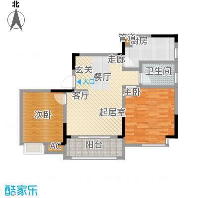 1+8时代广场85.64㎡B户型2室2厅1卫