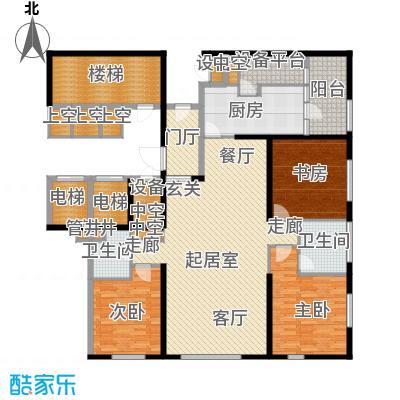 US联邦公寓183.65㎡e户型3室2厅2卫户型