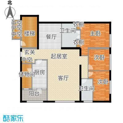 US联邦公寓192.69㎡a户型3室2厅2卫户型