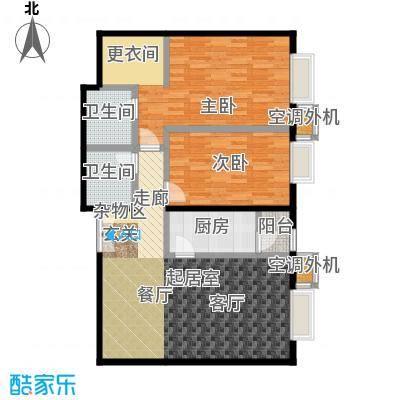 桐城国际113.50㎡(F区)1-3号楼D二室二厅二卫户型
