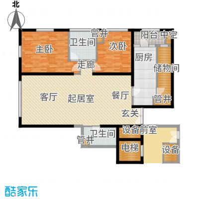 US联邦公寓162.83㎡d户型2室2厅2卫户型