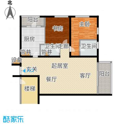 US联邦公寓170.65㎡c户型2室2厅2卫户型
