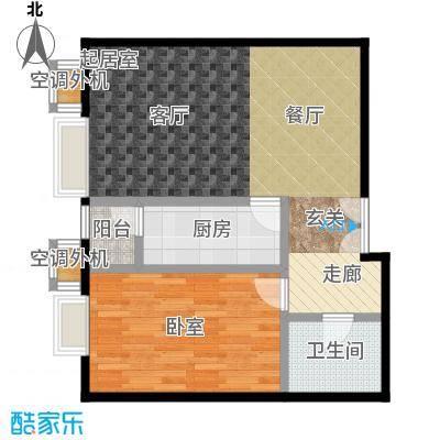 桐城国际74.71㎡(F区)1-3号楼C一室二厅一卫户型