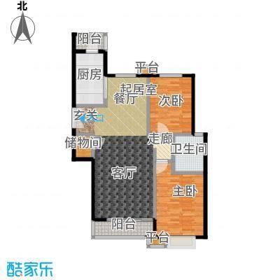 桐城国际114.00㎡D1-A1单元01二室二厅一卫户型