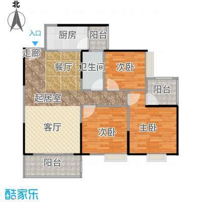 上林苑91.20㎡7栋1座03单位户型3室1卫1厨