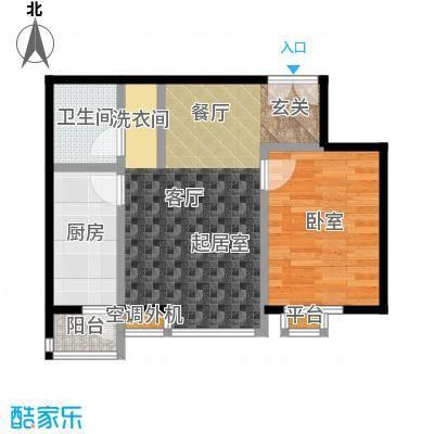 桐城国际62.00㎡D1-A1单元02一室二厅一卫户型