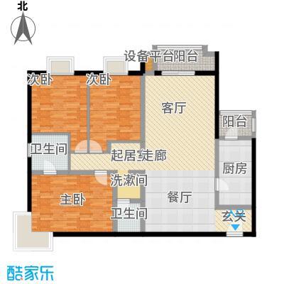 万科东第a户型三室两厅两卫户型