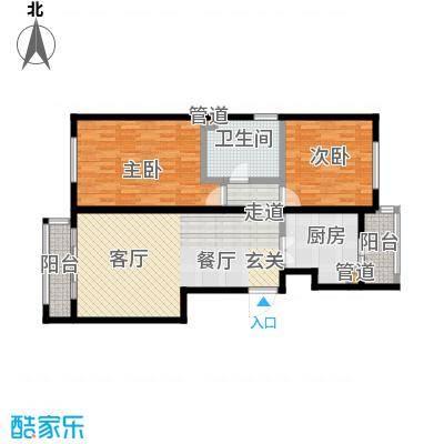 阿曼寓所99.00㎡2号楼J户型二室二厅户型