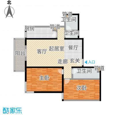 吉利家园122.14㎡二室二厅二卫户型