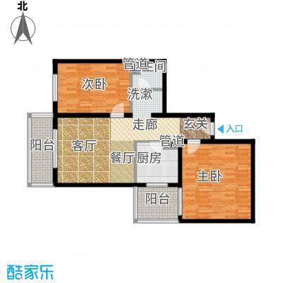 日月东华95.00㎡两室一厅一卫户型