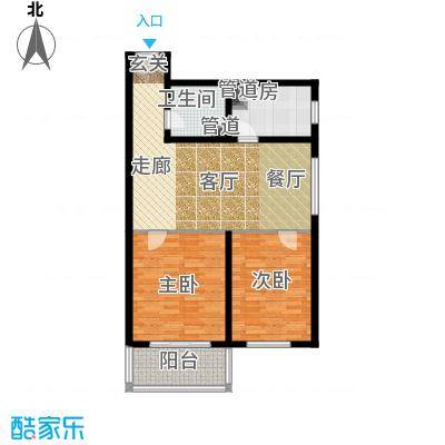 日月东华91.00㎡二居室户型
