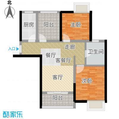 桂丹颐景园88.68㎡E1b户型2室1厅1卫1厨