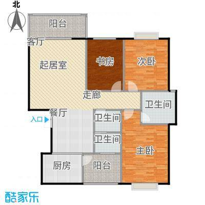锦天・生态城131.83㎡G户型3室2厅2卫