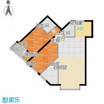 里外里公寓129.03㎡D-D-2户型二室二厅二卫户型