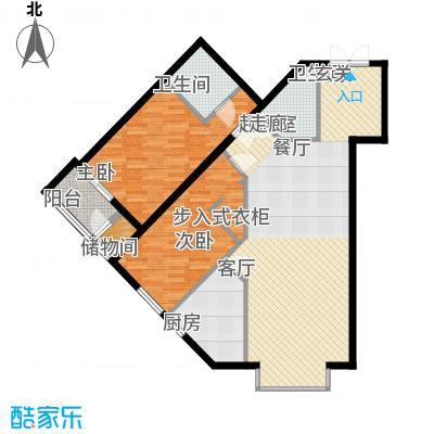 里外里公寓129.03㎡D单元D户型两室两厅两卫户型