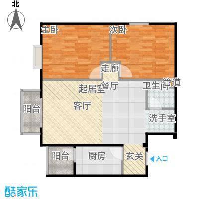 鸥洲88.20㎡电梯洋房户型图M户型2室2厅1卫