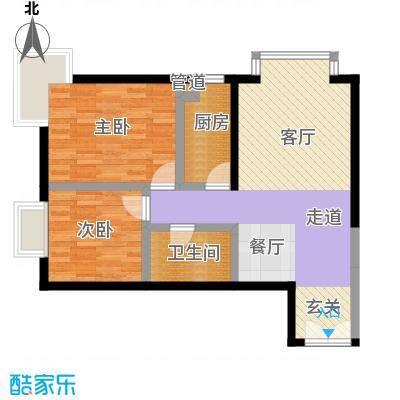 A派公寓84.12㎡B1户型二室二厅一卫户型