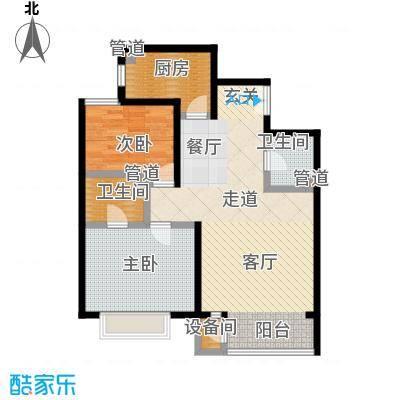 A派公寓101.31㎡B7户型两室两厅两卫户型