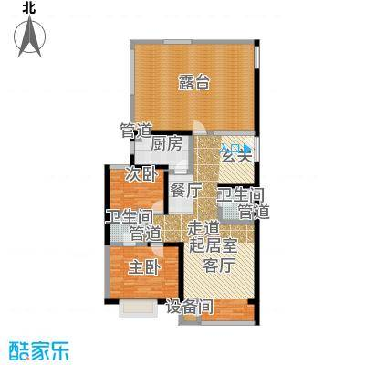 A派公寓111.78㎡B7F户型两室两厅两卫户型