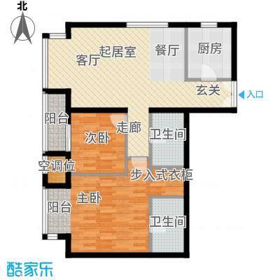 华彩国际公寓104.73㎡B3a两室两厅两卫户型2室2厅2卫