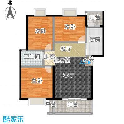 三元极第92.67㎡3房2厅1卫(M1)户型