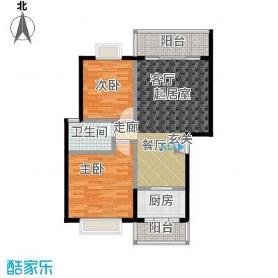 三元极第80.80㎡2房2厅1卫(D1)户型