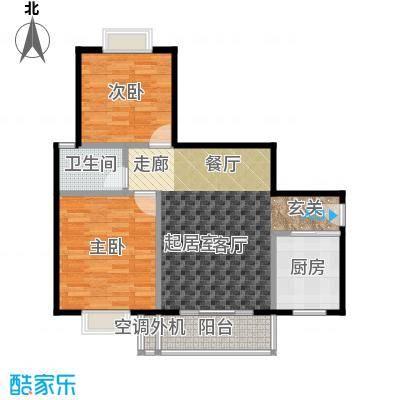 三元极第83.16㎡J2户型:2房2厅1卫户型