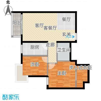 优品国际公寓89.37㎡三单元03两室户型2室1厅1卫1厨