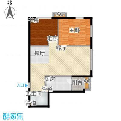 观筑金洋国际100.18㎡B2两室两厅一卫户型