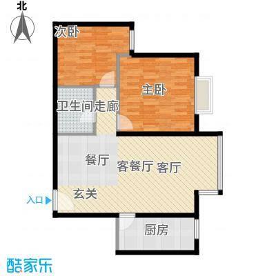 优品国际公寓91.74㎡三单元01两室户型2室1厅1卫1厨