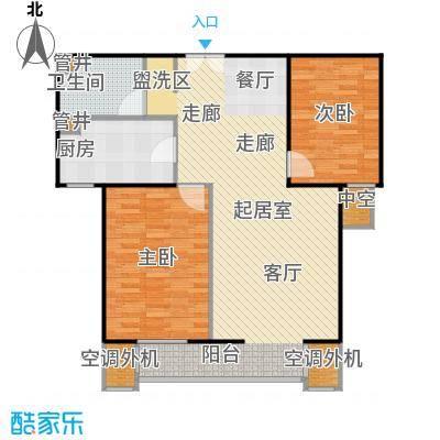 CBD总部公寓105.78㎡K2反户型二室二厅一卫户型