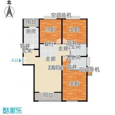 CBD总部公寓126.74㎡K3反户型三室二厅二卫户型