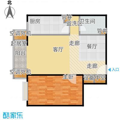 CBD总部公寓81.14㎡E2户型一室二厅一卫户型