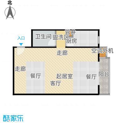 CBD总部公寓64.54㎡E4户型一室一卫户型
