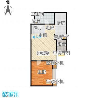 CBD总部公寓63.47㎡H4户型一室二厅一卫户型