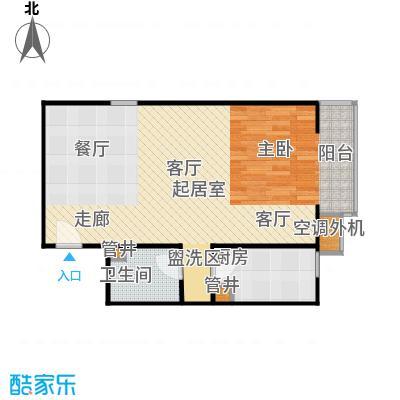 CBD总部公寓64.54㎡N1户型一室一卫户型