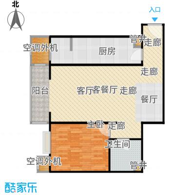 CBD总部公寓82.26㎡H3户型一室二厅一卫户型