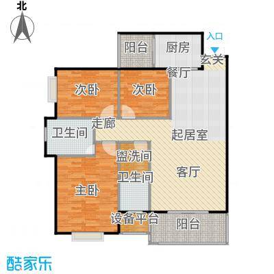 锦天・生态城119.17㎡H户型3室2厅2卫
