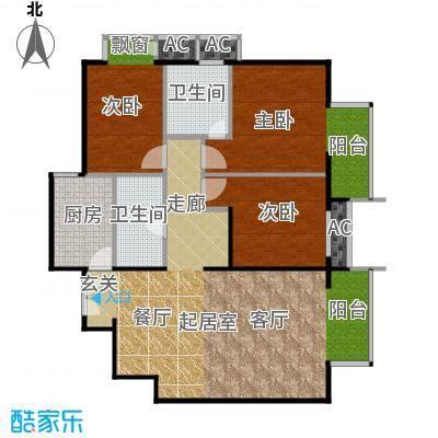 星源国际公寓120.93㎡E06户型3室1厅户型